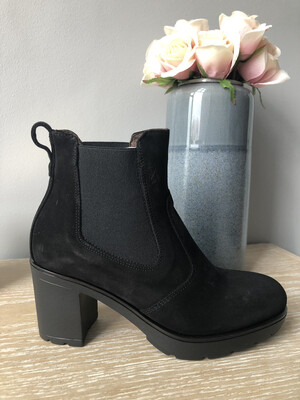 Black Suede Elasticated Ankle Boot