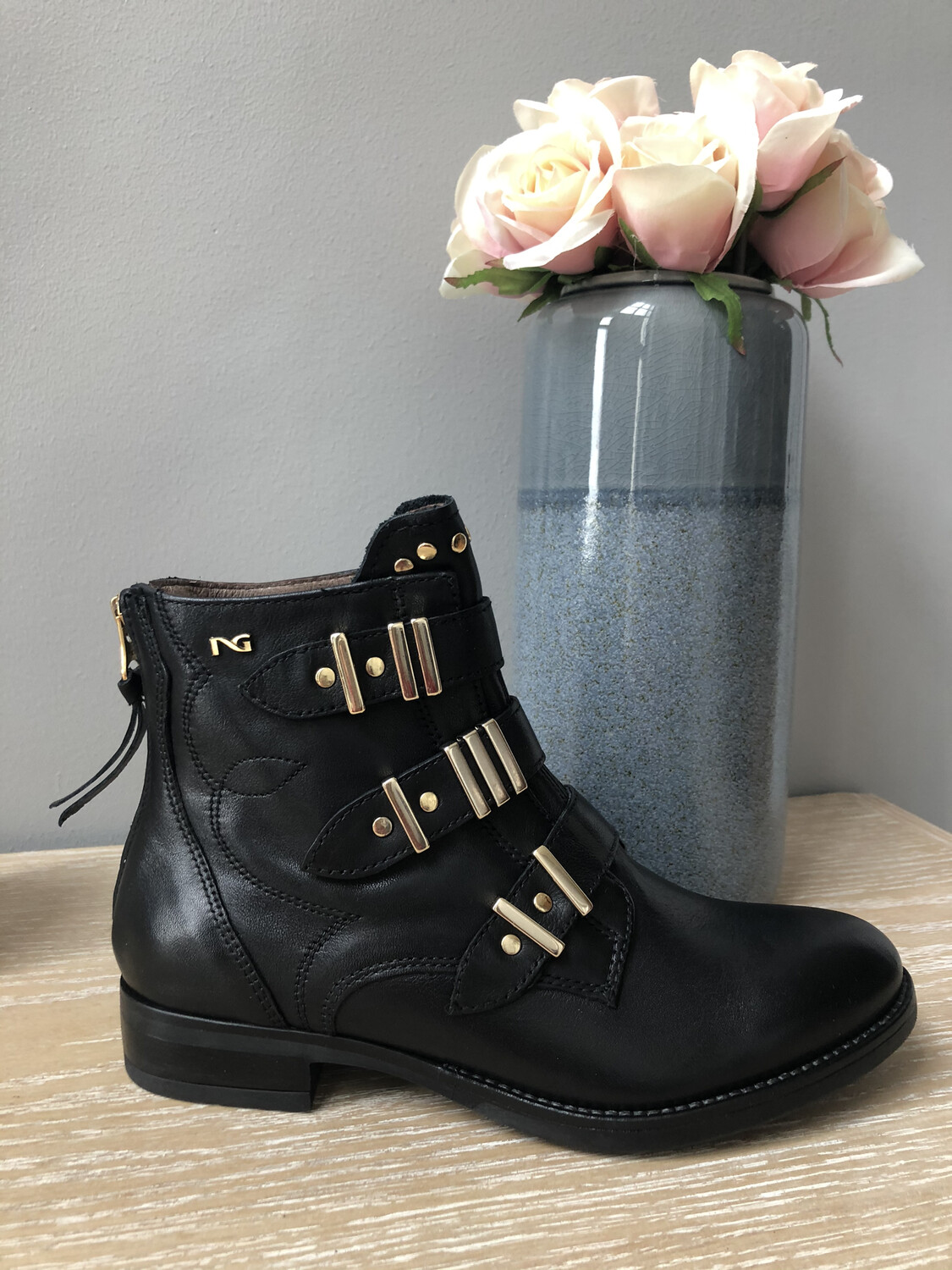 Black Leather Biker Ankle Boot With Gold Buckles