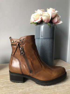 Tan Leather Zip Detail Ankle Boot