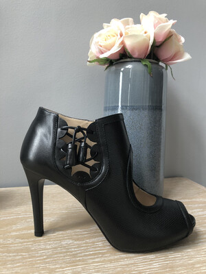 Black Stiletto Heel Shootie With Cut Out Detail