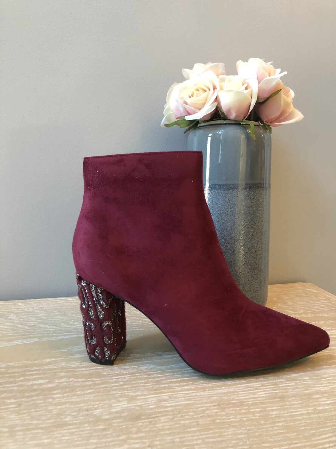 Ruby Suede Ankle Boot with Embellished Heel
