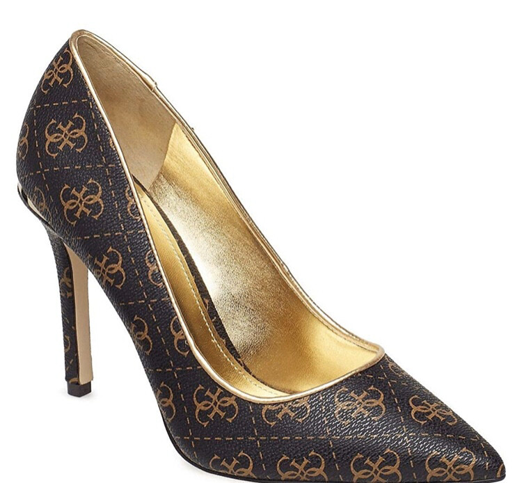 Bellam Brown & Gold Logo Court Shoe