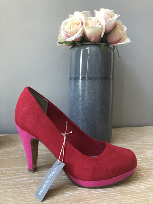 Red & Pink Suede Court Shoe