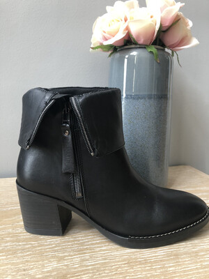 Black Leather Ankle Boot with Fold Down Detail