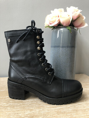 Black Leather Laced Boot