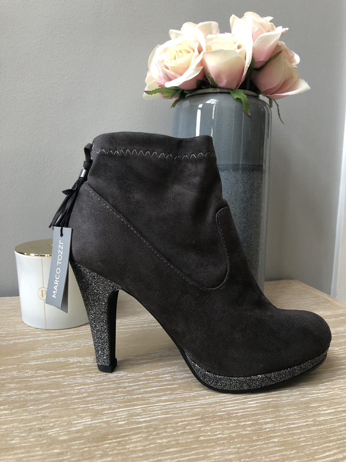 Dark Grey Sparkle High Heel Ankle Boot
