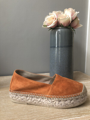 Orange Suede Flatform Espadrille 1726