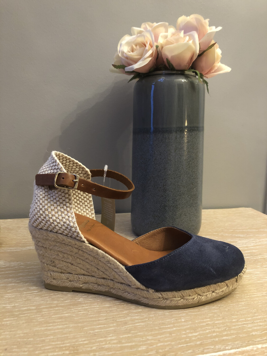 Navy Suede Wedge Espadrille 1731