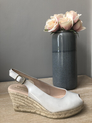 White Patent Peep-Toe Wedge Espadrille 1616