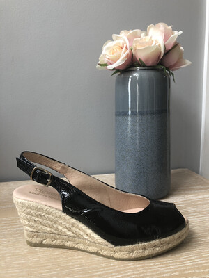 Black Patent Peep-Toe Wedge Espadrille 1616