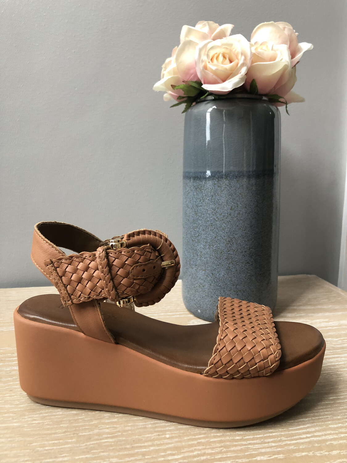 Coconut Leather Weave Strap Wedge