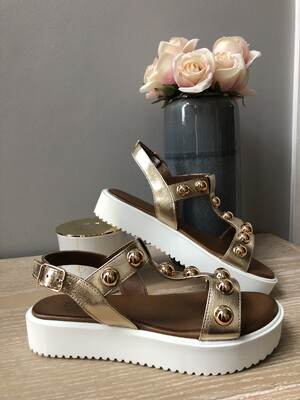 Gold Strap Sandal With Stud Detail
