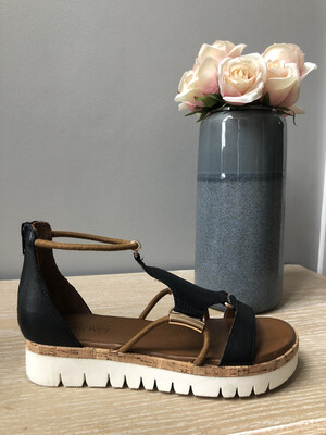 Black Gladiator Style Platform With Tan & Gold Detail