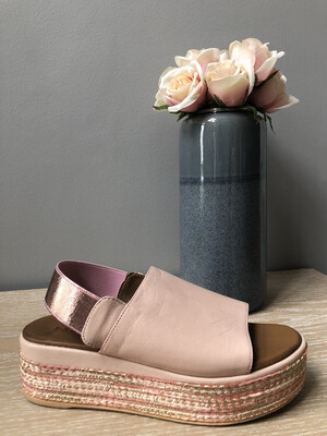 Blush Leather Metallic Strap Wedge
