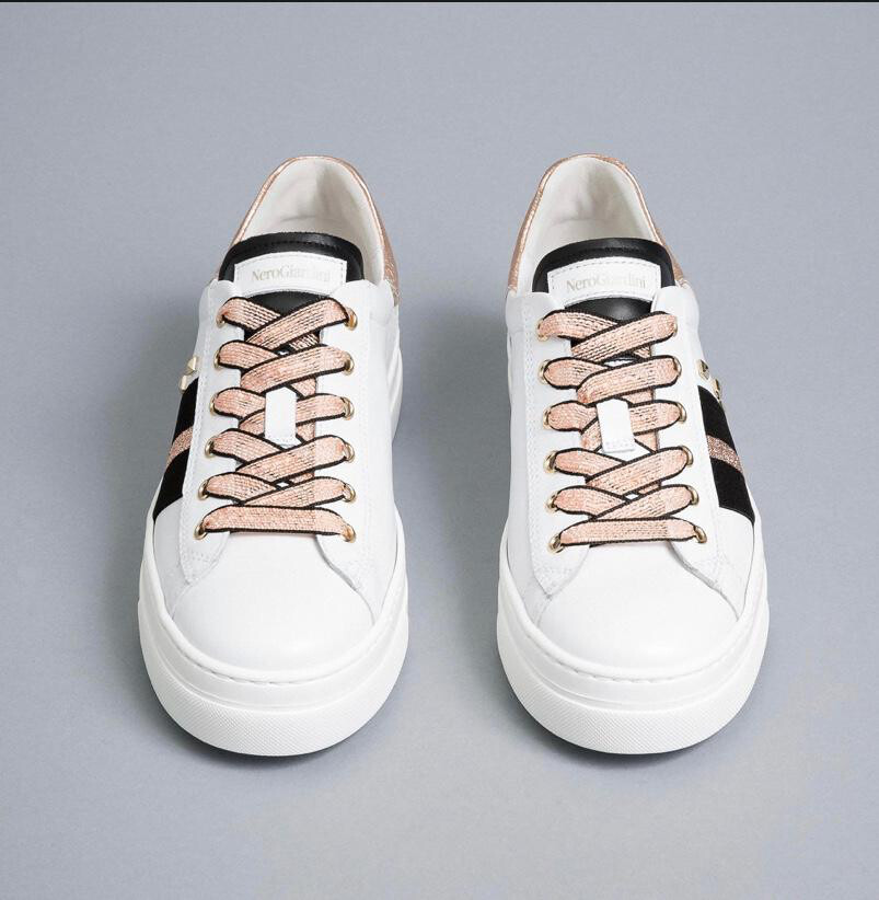 White Leather Trainer With Black And Rose Gold Detail