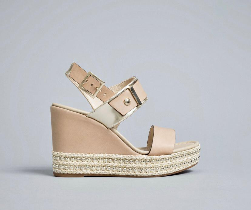 Champagne Wedge With Gold Stud Detail