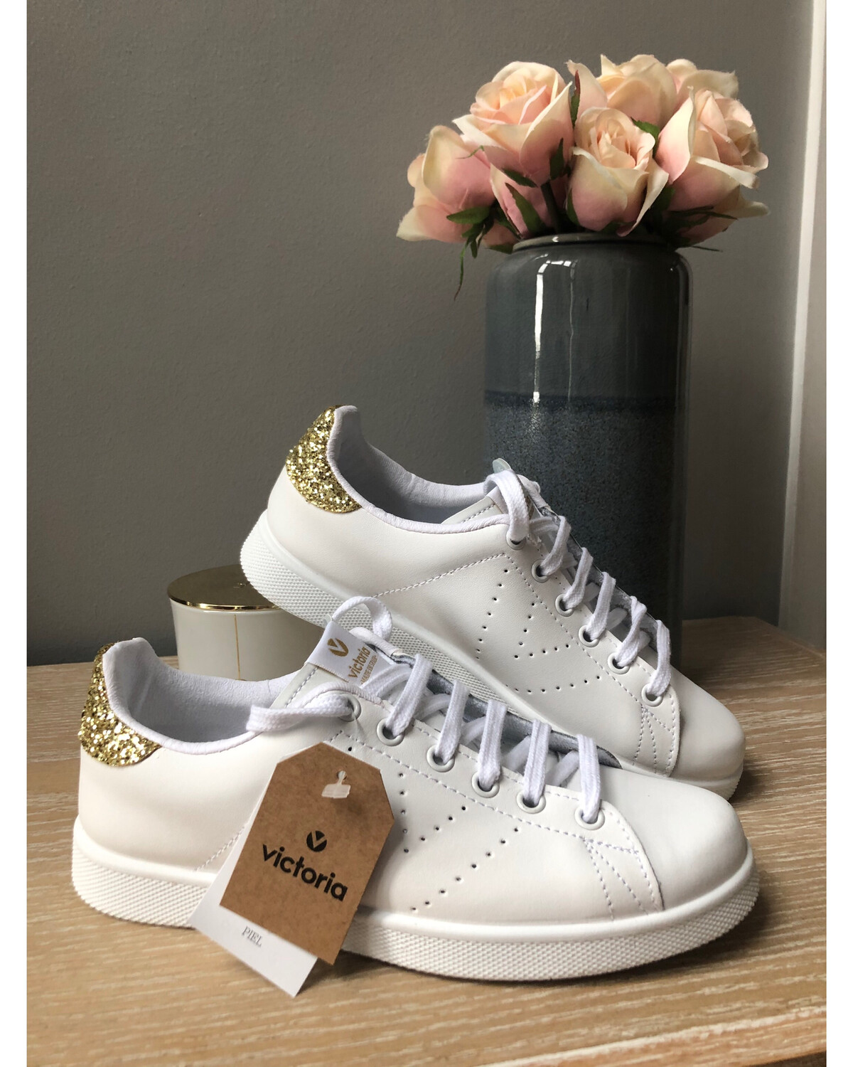 White Leather Trainer With Gold Sparkle