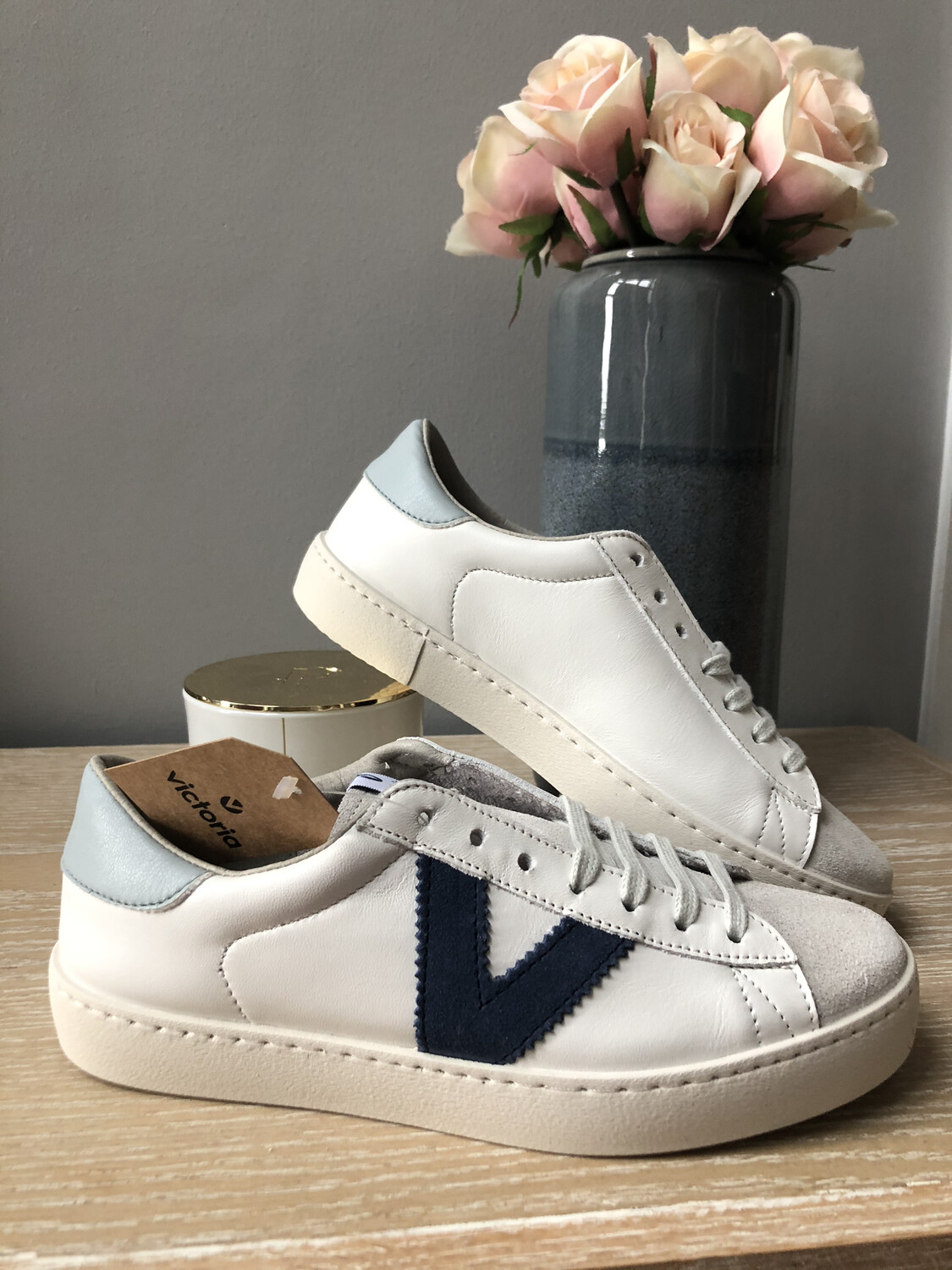 White Leather & Suede Trainer With Blue Detail