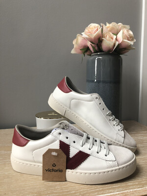 White Leather & Suede Trainer With Burgundy Detail