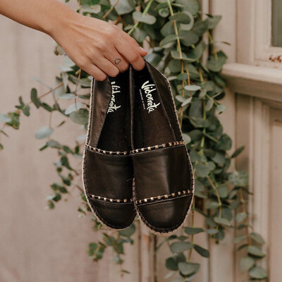 Black Leather Espadrille With Gold Stud Detail