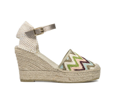 Gold Metallic Espadrille With Green Geometric Print