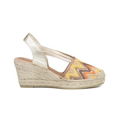 Gold Espadrille With Orange & Yellow Geometric Print
