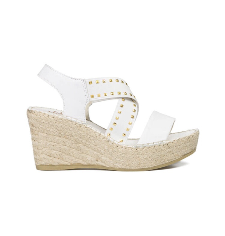 White Leather Wedge Sandal With Gold Detail