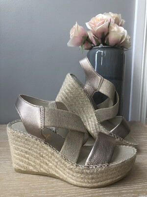 Gold Leather Metallic Espadrille Sandal
