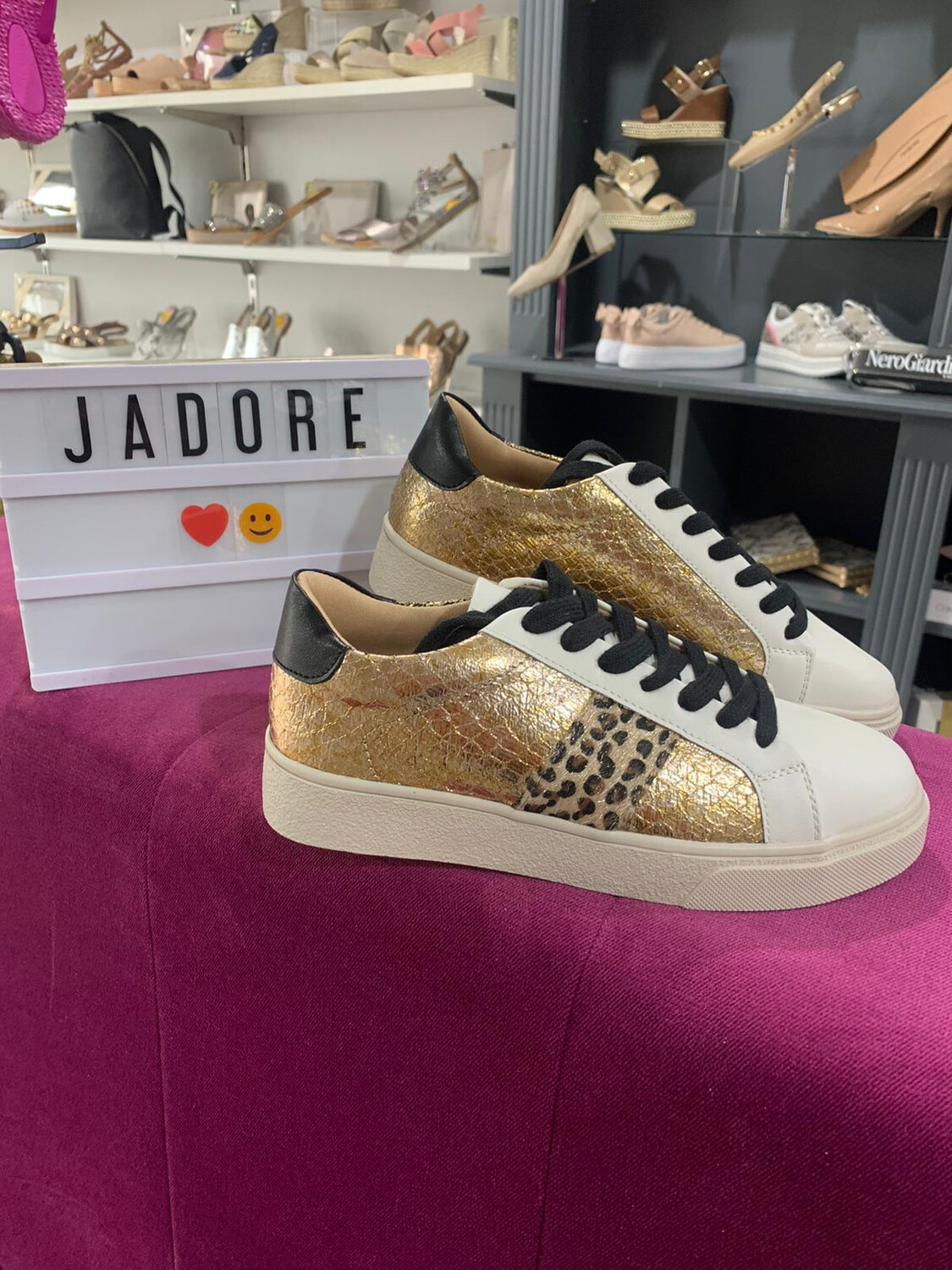 Gold Metallic Trainer with Leopard Detail