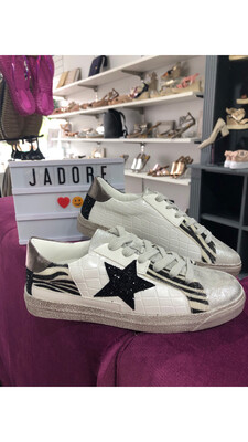 White Trainer with Black Star Detail