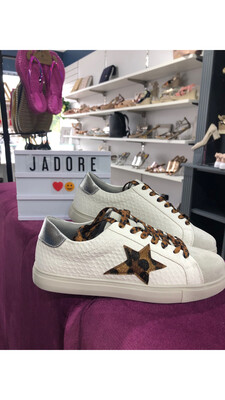White Trainer with Leopard Star Detail