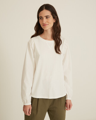 Cream T-Shirt With Puffy Sleeves