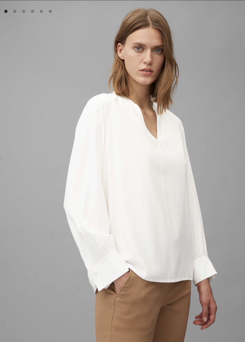 Off White Stretch Long Sleeve Blouse