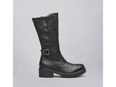 Mid Black Biker Style Boot With Buckle Detail