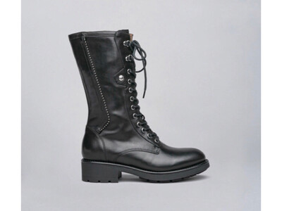 Black Mid Boot With Studded Detail
