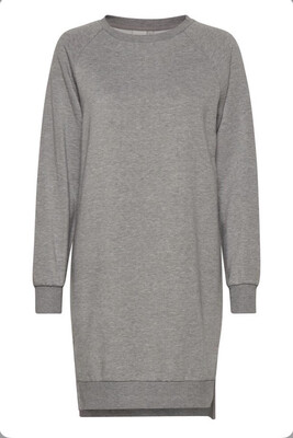Grey Jersey Dress with Long Sleeve
