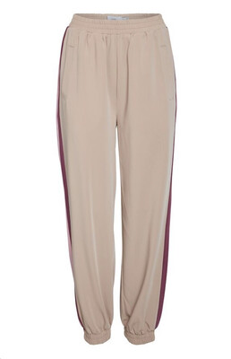 Natural Pants With Pink/Burgundy Stripe