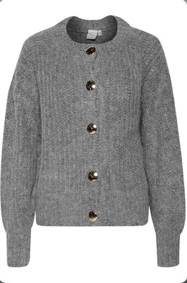 Grey Wool Cardigan With Large Gold Buttons