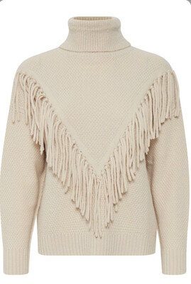Cream Fringed Polo Neck Jumper