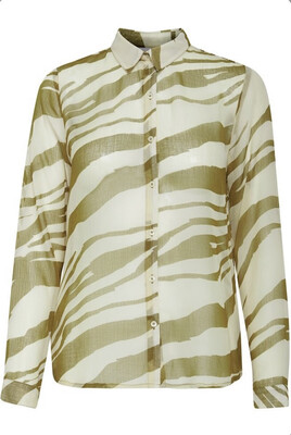 Forest Green And Cream Print Blouse