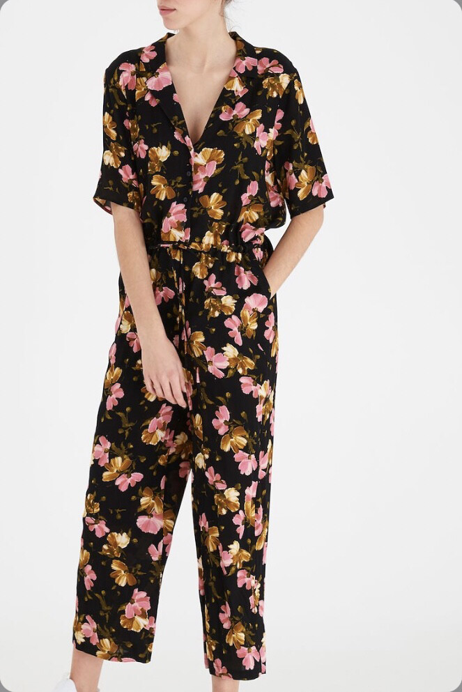 Black And Pink Floral Jumpsuit