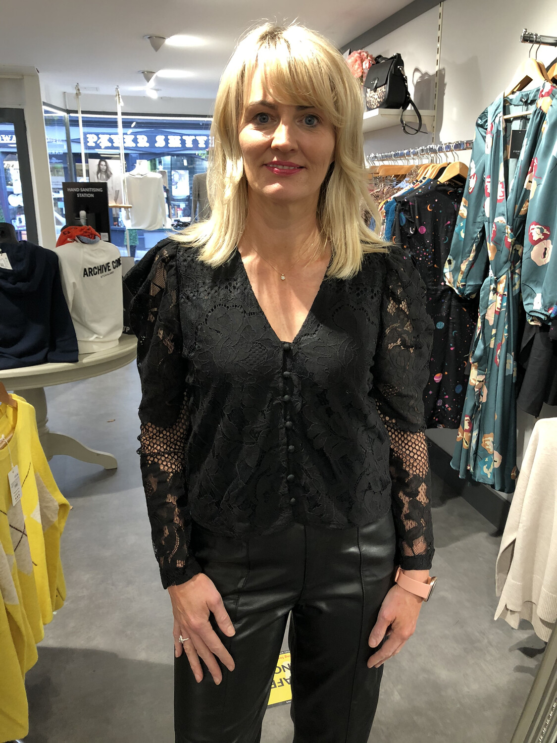 Black V-neck Button Blouse