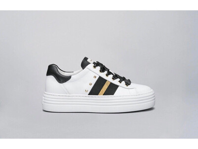 White Leather Stud Trainer With Black And Gold Detail