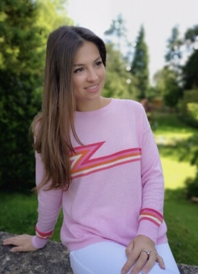 Ziggy Cashmere Jumper Multi-Colour ZigZag Stripes on Chest - Baby Pink