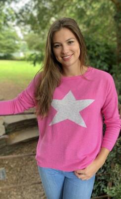 Cashmere Star Jumper Hot Pink/Silver