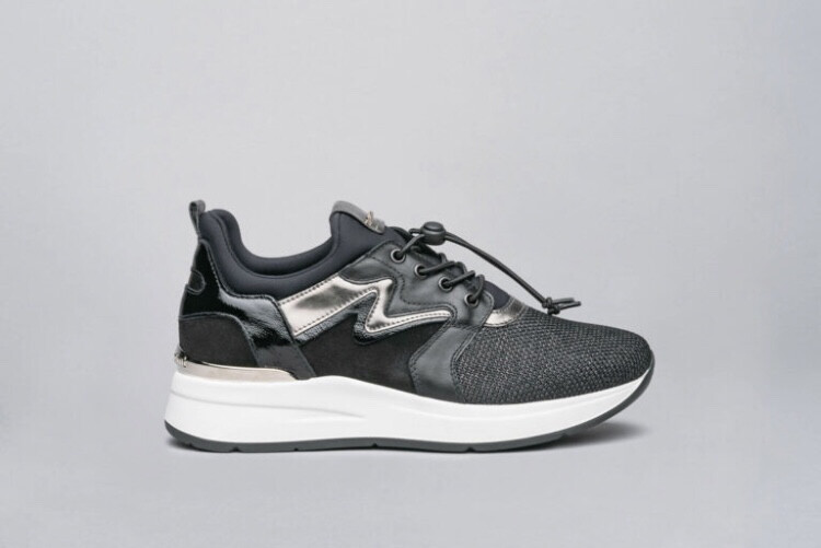 Black Sparkle Trainer With Chrome Detail