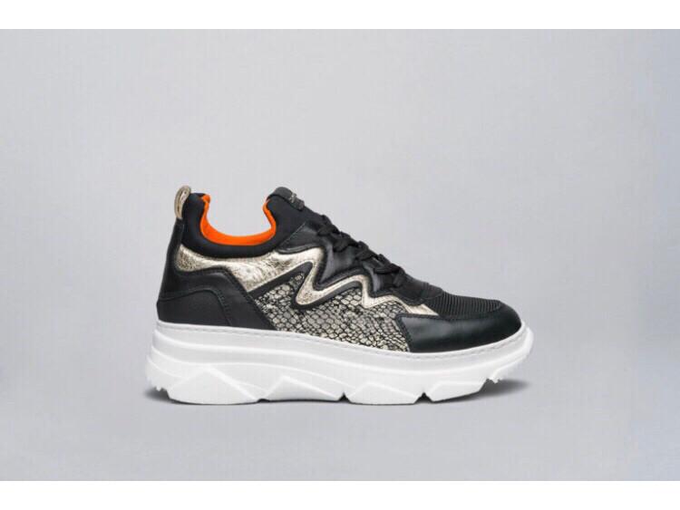 Black Platform Trainer with Gold Metallic Detail & Orange Insert