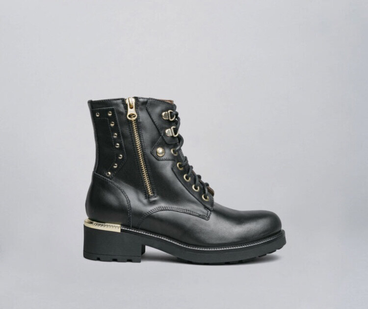 Black Biker Ankle Boot With Gold Studded Detail