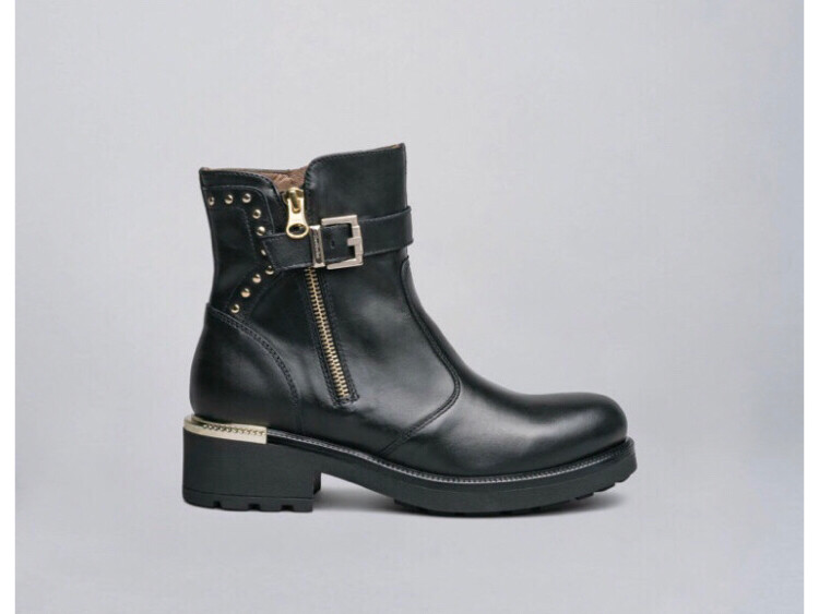 Black Ankle Boot With Gold Stud And Buckle Detail