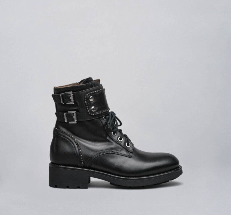 Black Ankle Biker Style Boot With Stud And Buckle Detail
